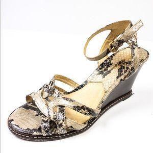 Michael Kora Snakeskin Leather Wedge Sandals